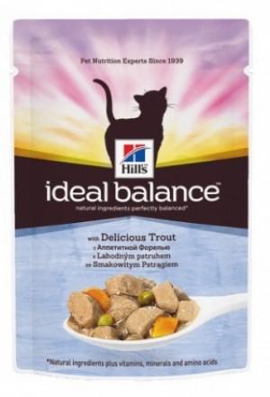 Паучи Хиллс идеальный баланс для взрослых кошек с форелью и овощами.