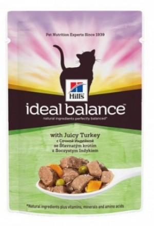 Паучи хиллс идеальный баланс для взрослых кошек с индейкой и овощами.