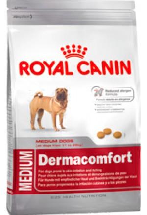 Корм Роял Канин медиум дермакомфорт для собак с раздраженной и зудящей кожей.
