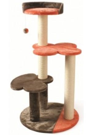Игровой комплекс для кошек: трехэтажная когтеточка с лежаком и игрушкой